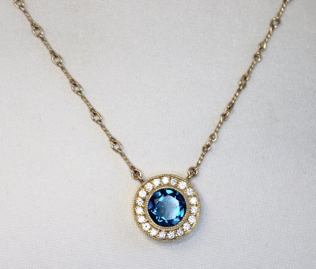 Blue Topaz Halo Necklace