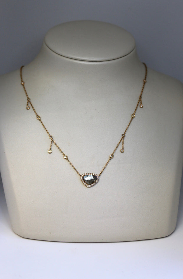 Yellow Gold Diamond Slice w/ Halo Necklace