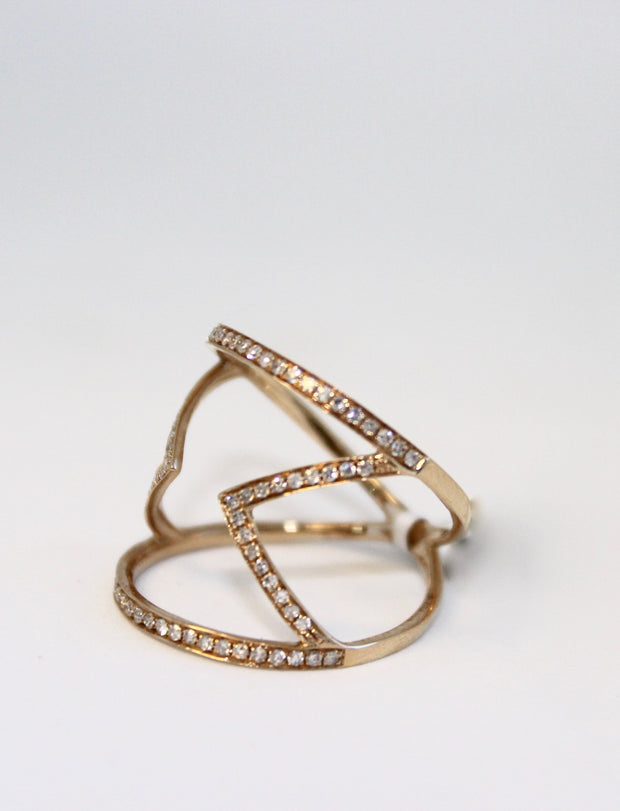 Yellow Gold Diamond Zigzag Ring