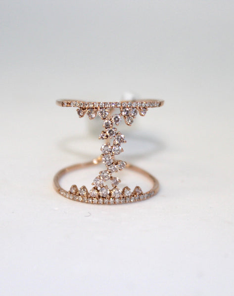 Two-Band connected Rose Gold Ring with Diamonds