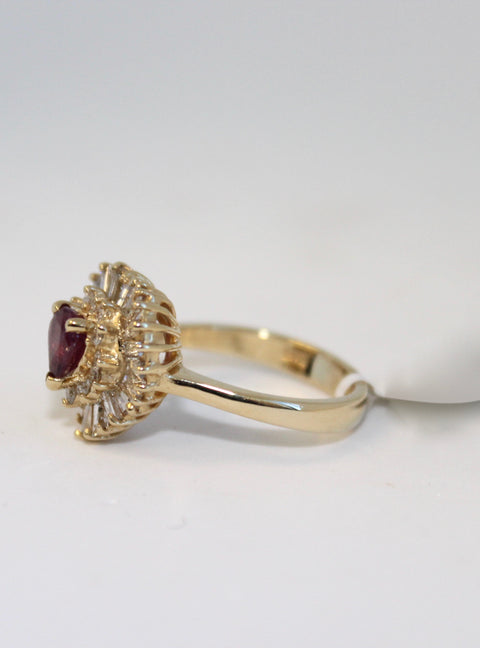Ruby Ring with Tapered Baguettes