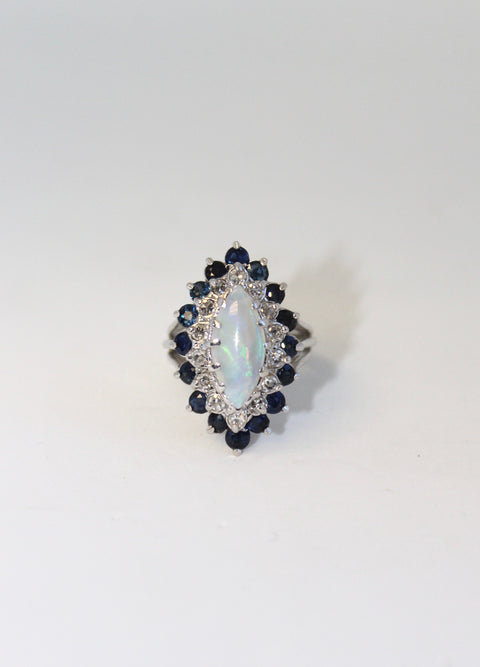 Opal and Sapphire Diamond Ring