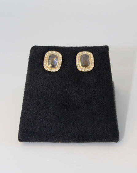 Yellow Gold Sliced Diamond Earrings