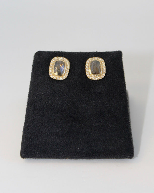Yellow Gold Diamond Slice Earrings