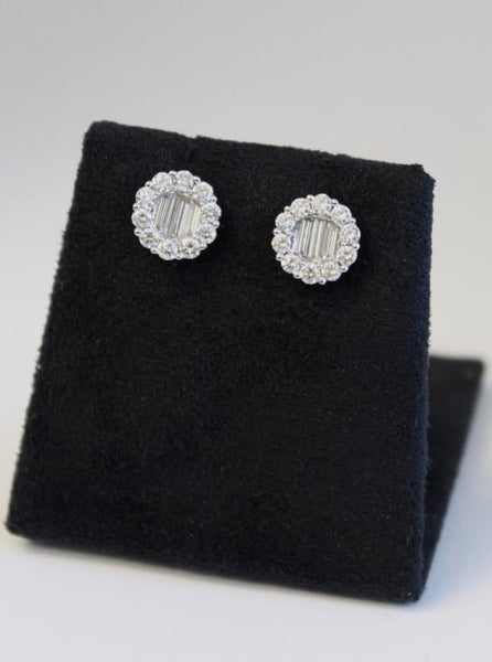 Baguette and Round Diamond studs