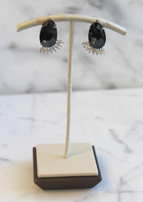 Black Spinel and Marquise Cut Diamond Earrings