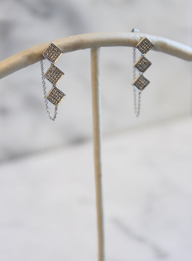 Three Square Drop Diamond Earrings