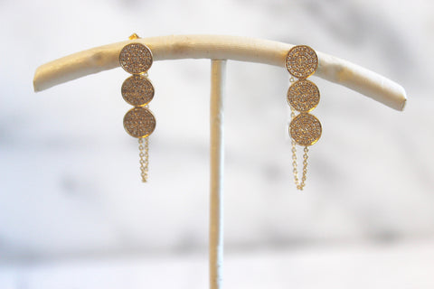 Three Circlular Drop Diamond Earrings