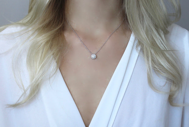 Round Diamond with Halo Necklace