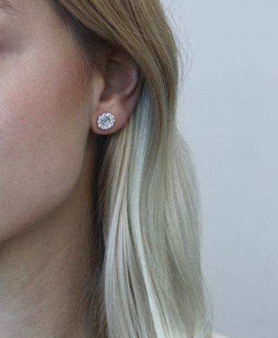 Baguette and Round Diamond Halo Studs