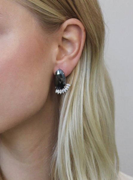 Black Sapphire and Marquise Cut Diamond Earrings