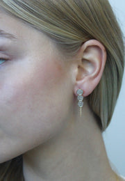 Three Circular Drop Diamond Earrings