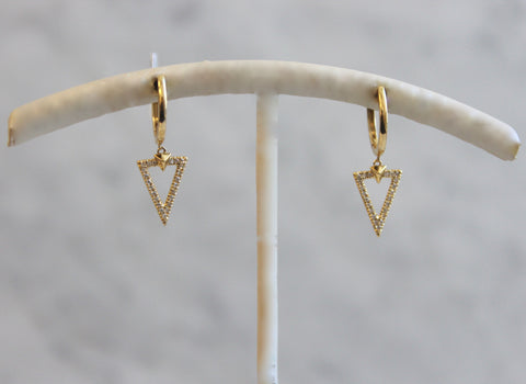 Triangle Yellow Gold Earrings