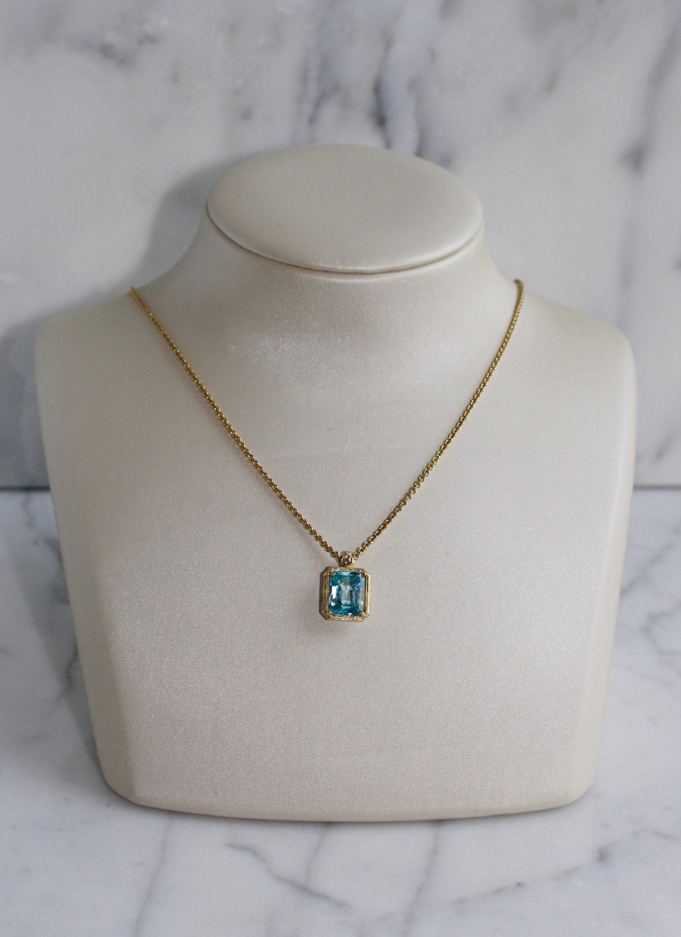 Blue Topaz Necklace with Diamond Detail