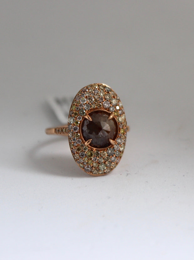 Rose Gold Diamond Slice Ring with Round Diamonds