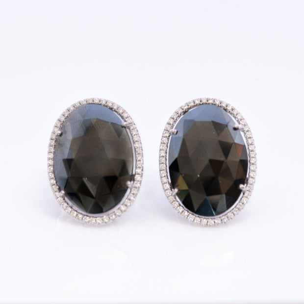 Black Spinel Oval  Earrings with Diamond Halo