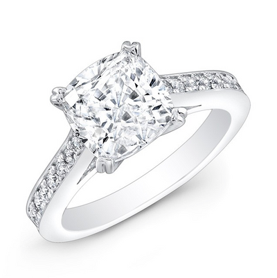 Cushion Shape Pave Diamond Engagement Ring