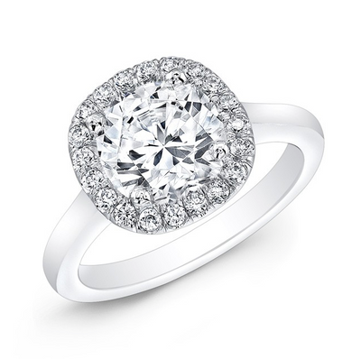 Cushion Shape Diamond Halo Engagement Ring