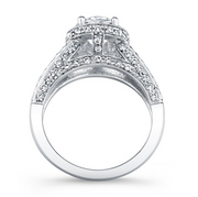 Round Diamond Halo Split Shank Engagement Ring