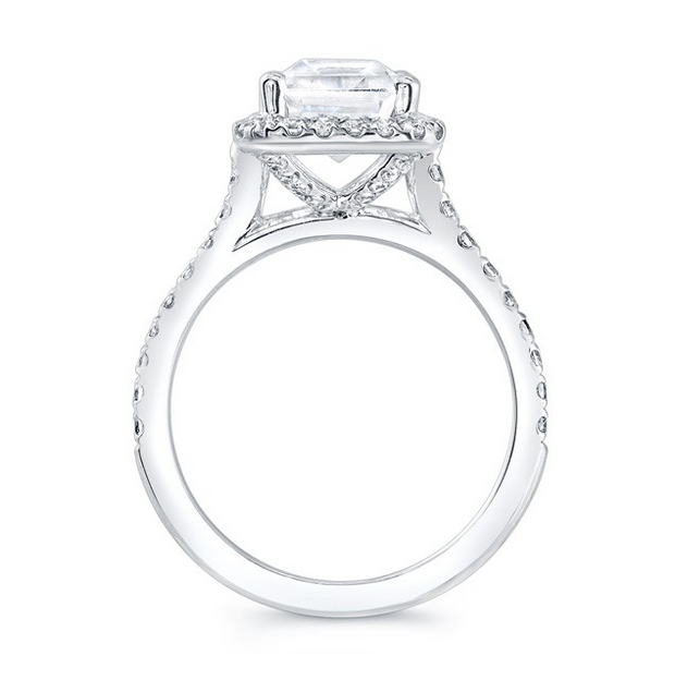 Emerald Cut Diamond Halo Cathedral Style Engagement Ring
