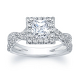 Princess Diamond Halo with Criss-Crossed Split Shank Engagement Ring
