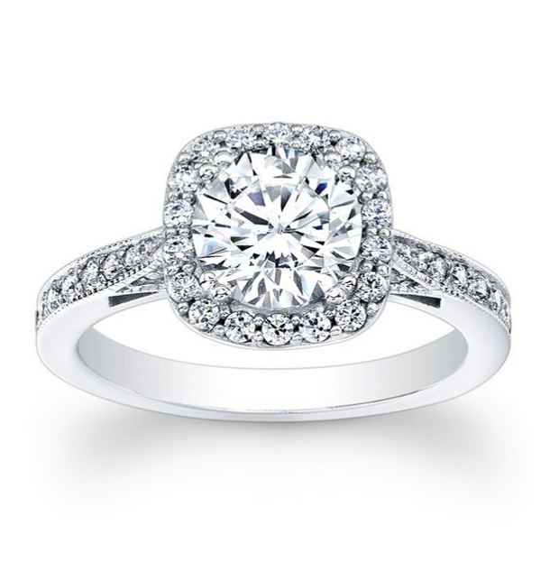 Round Diamond Squared Halo Engagement Ring