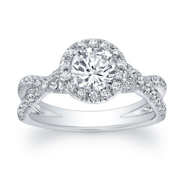 Round Diamond Halo Criss-Crossed Split Shank Engagement Ring