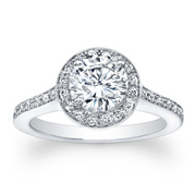 Round Diamond Halo Pave Engagement Ring with Diamond Accent on Profile