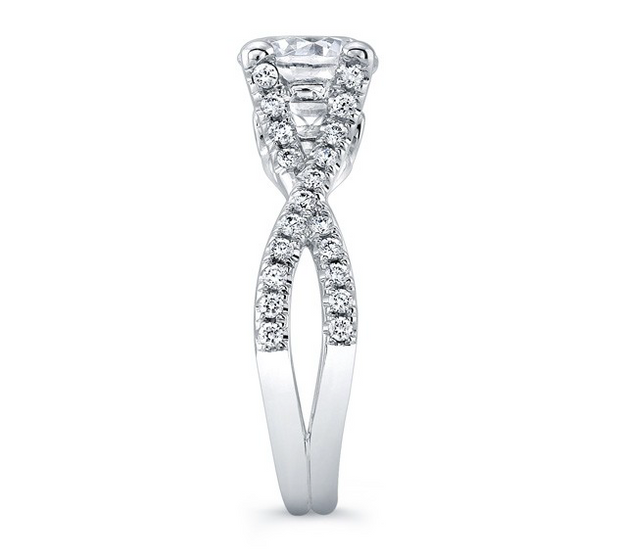 Round Diamond Criss-Crossed Split Shank Engagement Ring