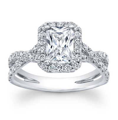 Emerald Cut Diamond Halo with Criss-Crossed Split Shank Engagement Ring