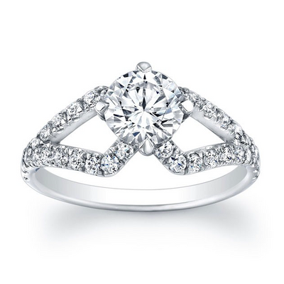 Cut-Out Split Shank Diamond Engagement Ring
