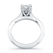 Diamond Accented Head and Single Row Diamond Engagement Ring