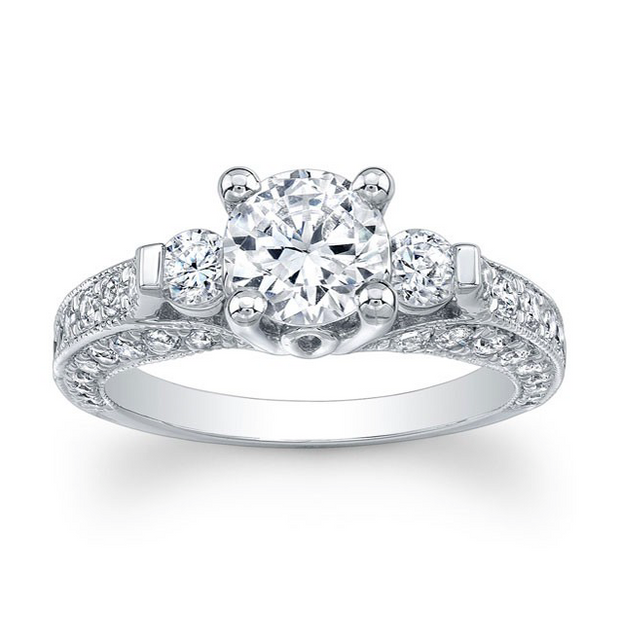 Round Three-Stone Diamond Pave Engagement Ring with Milgrain detail