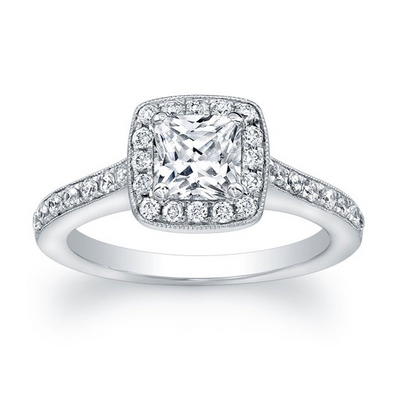 Princess Diamond Halo Pave Engagement Ring with Diamond Accent on Profile