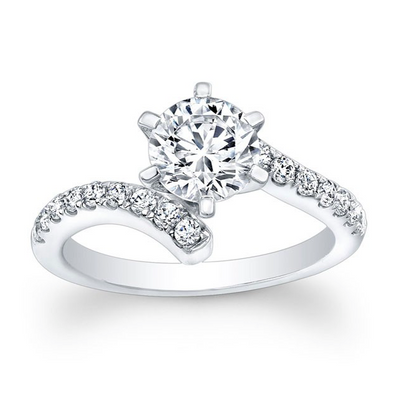 Curved Diamond Engagement Ring
