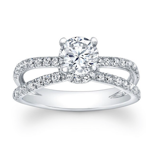 Diamond Head Accented Wide Split Shank Engagement Ring
