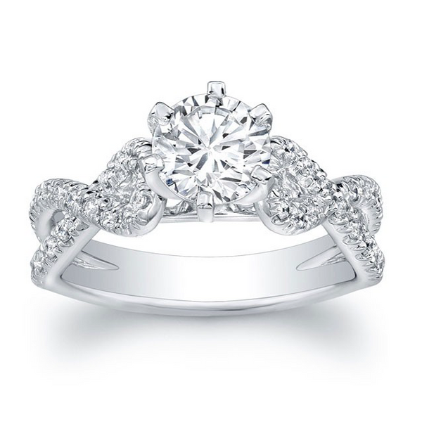 6-Prong Criss-Crossed Split Shank Cathedral Style Engagement Ring