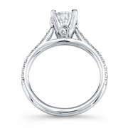 Diamond Cathedral-Style Engagement Ring with Diamond Accent on Profile