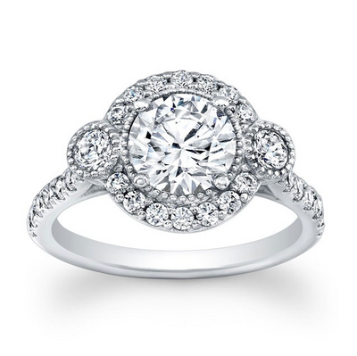 Three-Stone Triple Halo Pave Diamond Engagement Ring