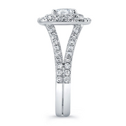Double Halo Split Shank Diamond Engagement Ring