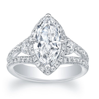 Marquise Diamond Halo Split Shank Three Stone Engagement Ring