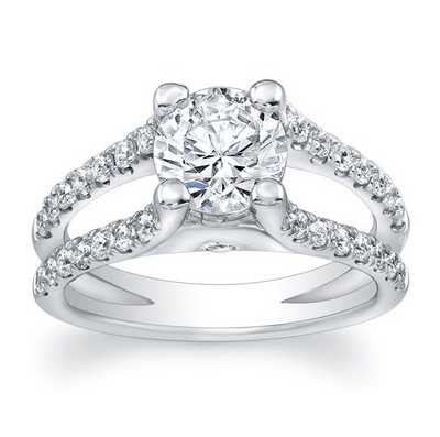 Wide Split Shank Diamond Engagement Ring