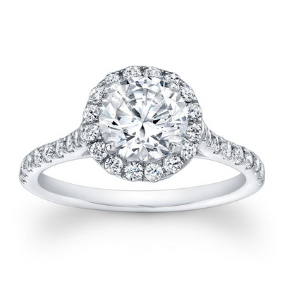 Round Diamond Halo Engagement Ring with Detailed Undercarriage