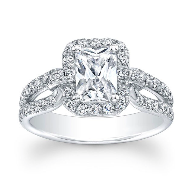 Emerald Cut Diamond Halo and Split Shank Engagement Ring