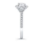 Three-Stone Triple Halo Diamond Engagement Ring