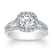 Cushion Diamond Halo Split Shank Engagement Ring