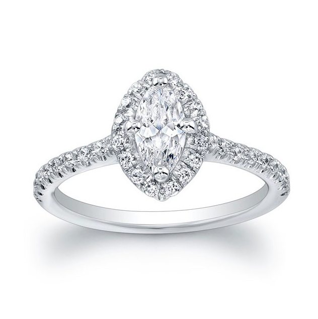 ad50585d70392 Marquise Diamond Halo Engagement Ring