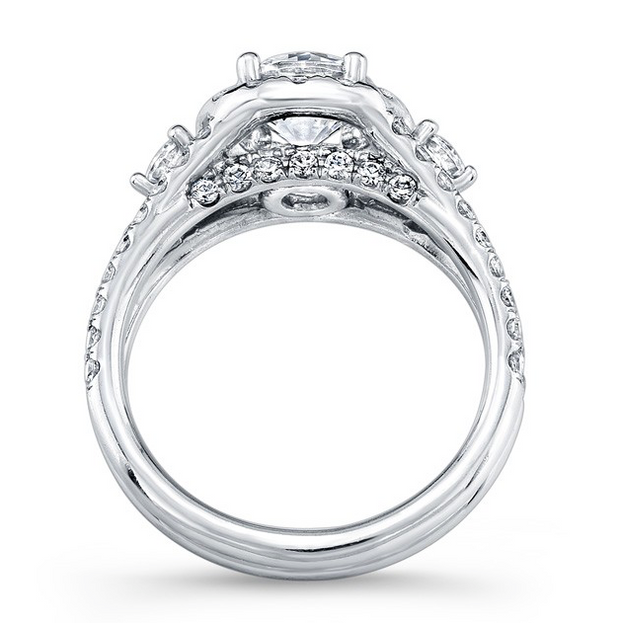 Three-Stone Round Split Shank Diamond Engagement Ring