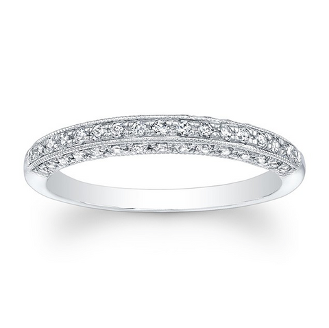 Pave Diamond Band with Milgrain Edge Detail