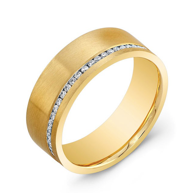 Yellow Gold Men's Wedding Band with row of Diamonds